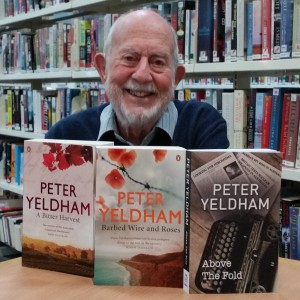 Peter Yeldham with his war time trilogy.